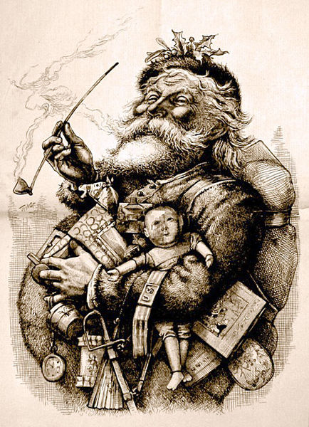 Sketch of Santa Clause holding toys and a long stem pipe,