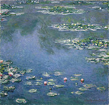 Claude Monet's Pond Lilies - Lilies float like clouds in a sky blue pond