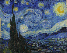 Vincent Van Gohg's Starry Night 1889 - impressionist painting of a starry night.