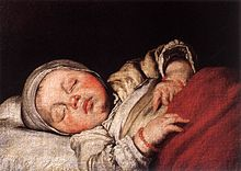 Painting of a sleeping child by Bernardo Strozzi