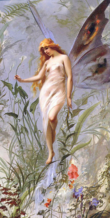 Painting of a Lily Fairy by Falero Luis Ricardo