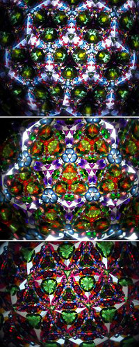 Images from a kaleidoscope showing multiple reflections of small colored shapes